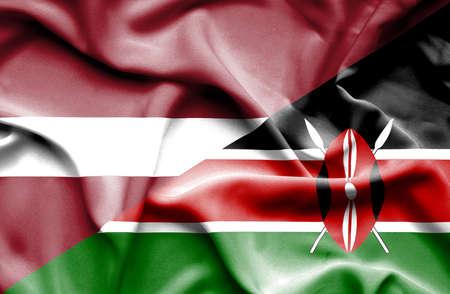 kenya: Waving flag of Kenya and Latvia