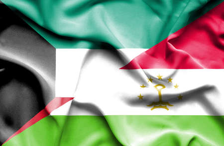 economy of tajikistan: Waving flag of Tajikistan and Kuwait
