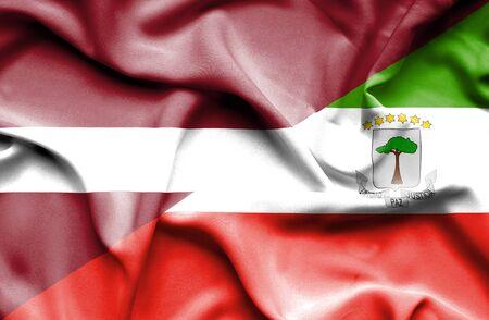 equatorial: Waving flag of Equatorial Giuinea and Latvia Stock Photo