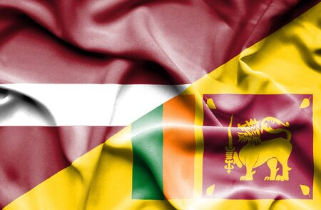 sri lankan flag: Waving flag of Sri Lanka and Latvia