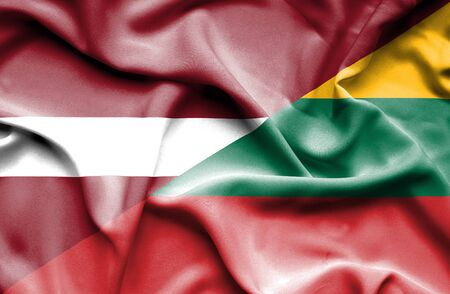 latvia: Waving flag of Lithuania and Latvia Stock Photo