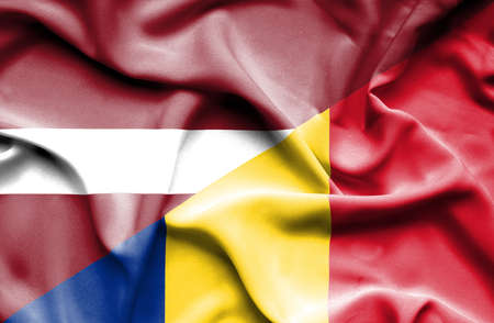 latvia: Waving flag of Romania and Latvia