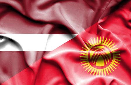 kyrgyzstan: Waving flag of Kyrgyzstan and Latvia