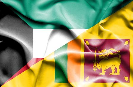 sri: Waving flag of Sri Lanka and Kuwait