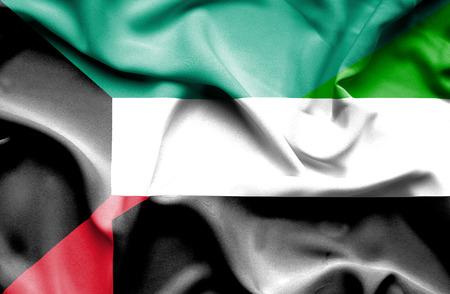 emirates: Waving flag of United Arab Emirates and Kuwait