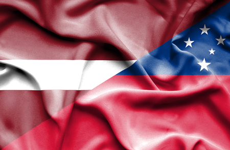 samoa: Waving flag of Samoa and Latvia
