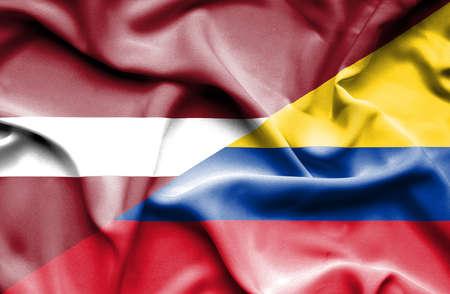 columbia: Waving flag of Columbia and Latvia Stock Photo