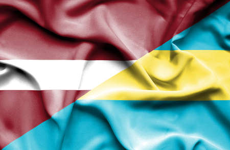 latvia: Waving flag of Bahamas and Latvia