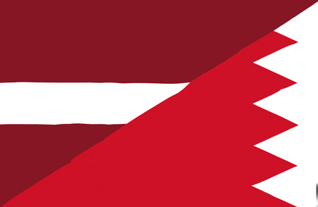 bahrain money: Waving flag of Bahrain and Latvia Stock Photo