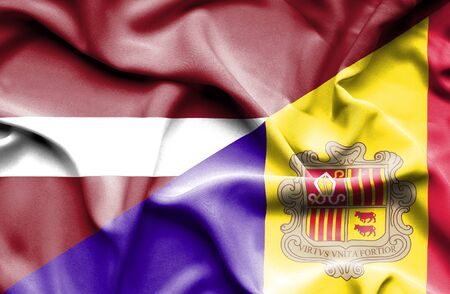 latvia: Waving flag of Andorra and Latvia