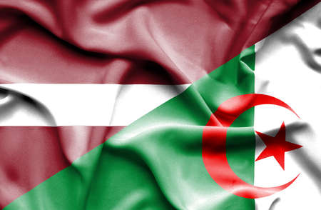 latvia: Waving flag of Algeria and Latvia