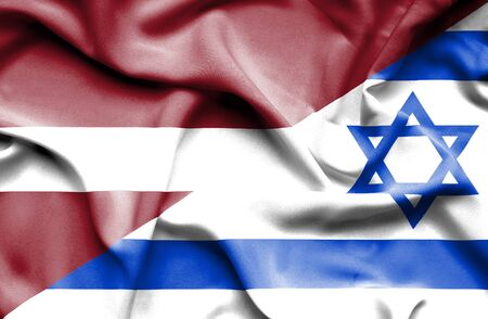 latvia: Waving flag of Israel and Latvia