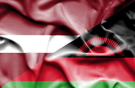malawian flag: Waving flag of Malawi and Latvia