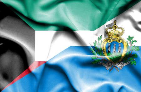 san marino: Waving flag of San Marino and Kuwait