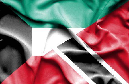 tobago: Waving flag of Trinidad and Tobago and Kuwait
