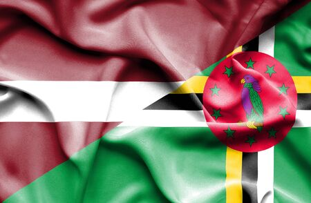 latvia: Waving flag of Dominica and Latvia