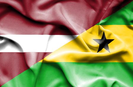 principe: Waving flag of Sao Tome and Principe and Latvia