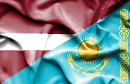 kazakhstan: Waving flag of Kazakhstan and Latvia