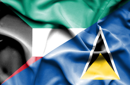 st lucia: Waving flag of St Lucia and Kuwait