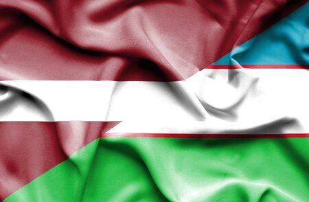 uzbekistan: Waving flag of Uzbekistan and Latvia