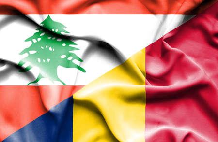 chad: Waving flag of Chad and Lebanon Stock Photo
