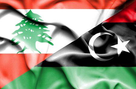 lebanon: Waving flag of Libya and  Lebanon Stock Photo