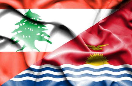 lebanon: Waving flag of Kiribati and Lebanon
