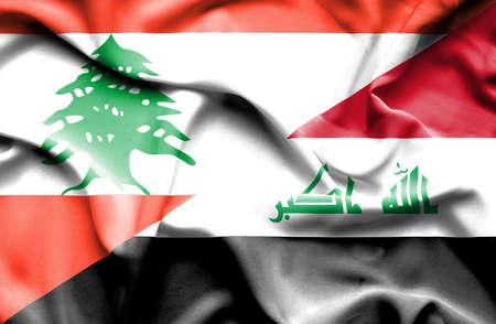 iraq conflict: Waving flag of Iraq and Lebanon