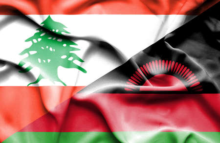 malawian flag: Waving flag of Malawi and Lebanon
