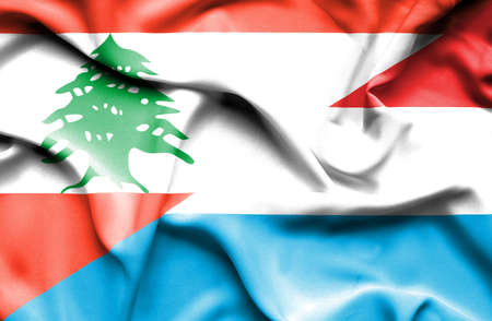 luxembourg: Waving flag of Luxembourg and  Lebanon