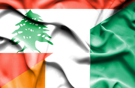 coast: Waving flag of Ivory Coast and Lebanon