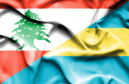bahamas: Waving flag of Bahamas and Lebanon