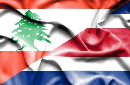 rican: Waving flag of Costa Rica and Lebanon Stock Photo