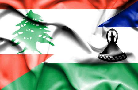 lesotho: Waving flag of Lesotho and  Lebanon