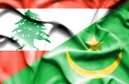 mauritania: Waving flag of Mauritania and  Lebanon