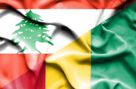 lebanon: Waving flag of Guinea and Lebanon