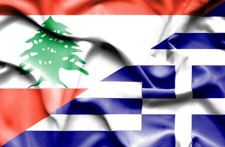 lebanon: Waving flag of Greece and  Lebanon