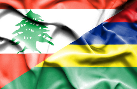lebanon: Waving flag of Mauritius and  Lebanon
