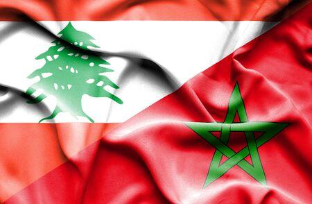 lebanon: Waving flag of Morocco and  Lebanon