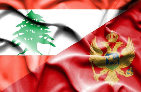 montenegro: Waving flag of Montenegro and  Lebanon