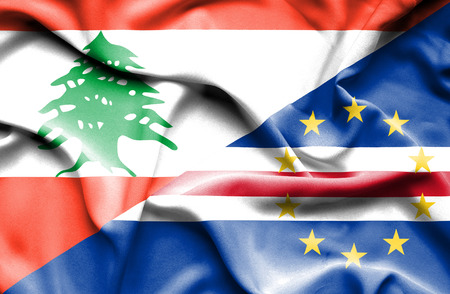 an        verde: Waving flag of Cape Verde and Lebanon Stock Photo