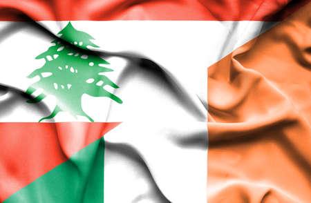 ireland flag: Waving flag of Ireland and Lebanon