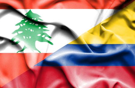 columbia: Waving flag of Columbia and Lebanon