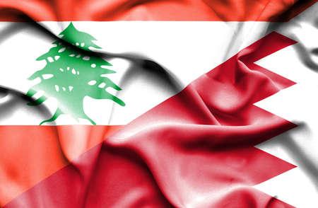 bahrain money: Waving flag of Bahrain and Lebanon Stock Photo
