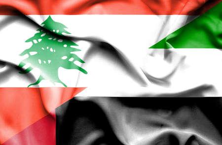 emirates: Waving flag of United Arab Emirates and  Lebanon