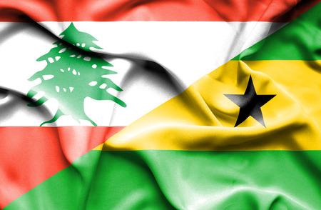 principe: Waving flag of Sao Tome and Principe and Lebanon Foto de archivo