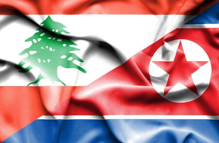 lebanon: Waving flag of North Korea and Lebanon
