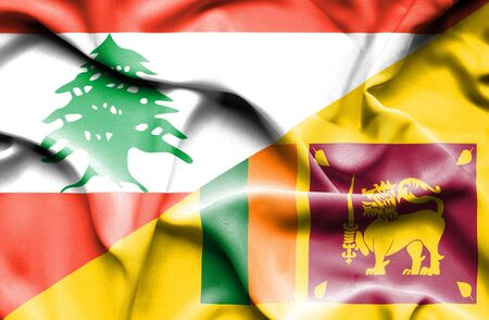 sri lanka: Waving flag of Sri Lanka and Lebanon Stock Photo