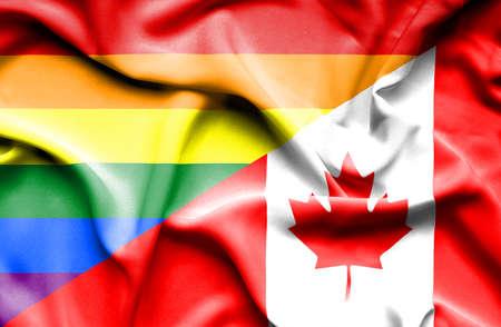 gente saludando: Ondeando la bandera de Canad� y