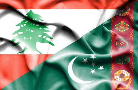 lebanon: Waving flag of Turkmenistan and  Lebanon
